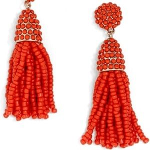 Bauble Bar mini piñata tassel earrings coral red